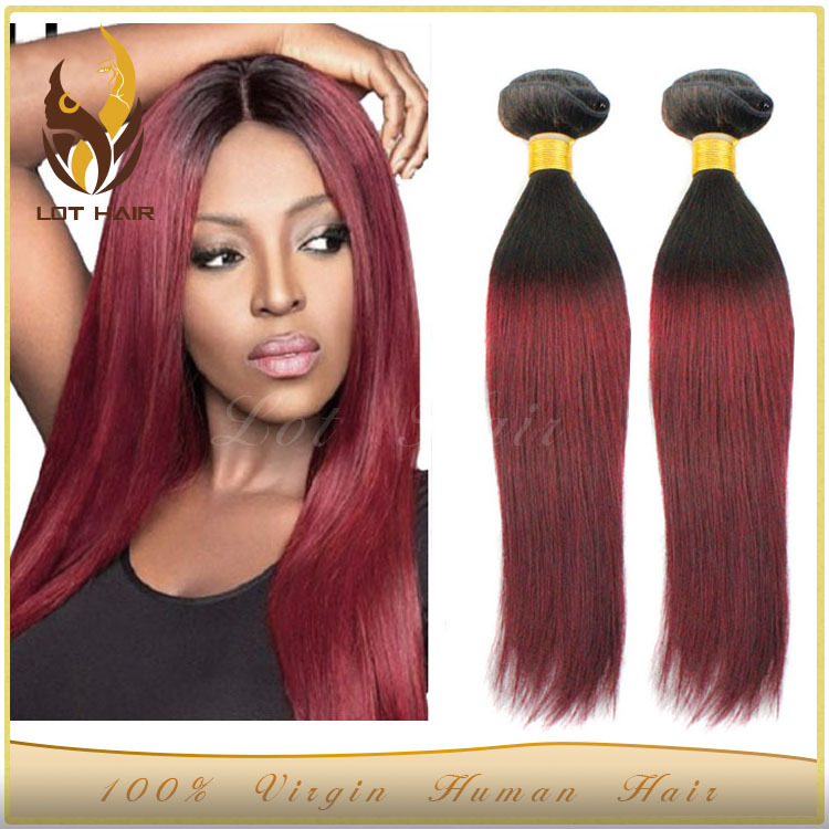 Best Selling Lot Hair Grade 6a Silky Straight Burgundy Colored Weave