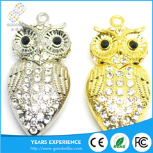 Jewelry Owl crystal pendant usb falsh pen drive 16gb/32gb/64gb with Individuality and creativity