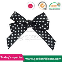 Discount white dot on grograin ribbon bow tied clip hair bow, black ribbon hair bow with white dots