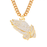 Prayer Hand Hip Hop Rhinestone Pendant Necklace Plating Gold Jewelry For Men Long Chain Necklace