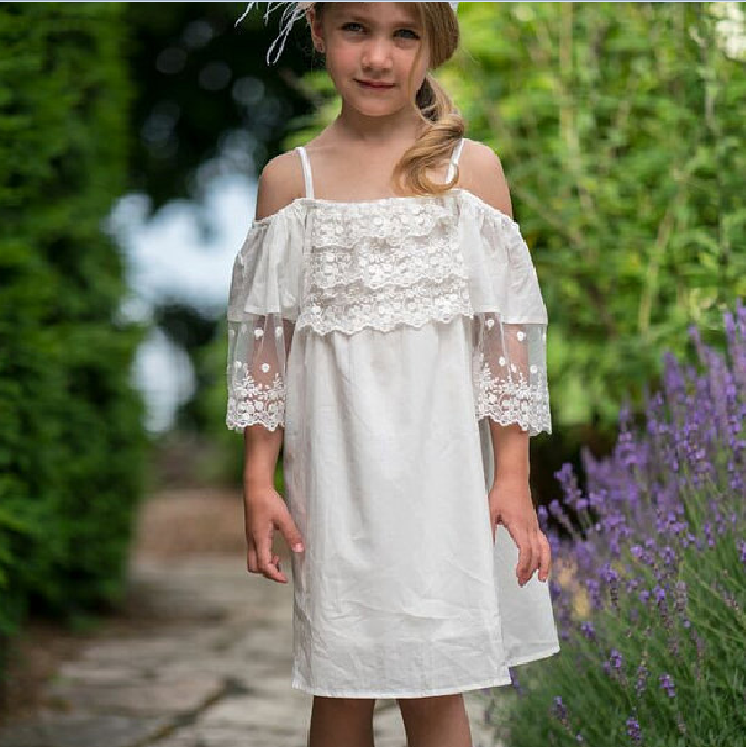 4c194f3d691d 2018 WHOLESALE WHITE COTTON AND LACE OFF THE SHOULDER BOHO DRESS COUNTRY  RUSTIC WEDDING FLOWER GIRL