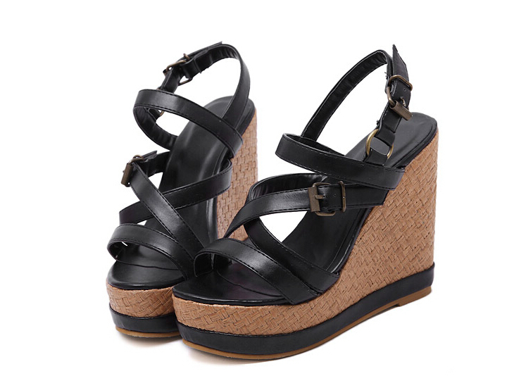 2015 Summer Style Women Sandals Black Brown Open Toe Wedges Sandals High Heel 13CM Platform Gladiator Shoes Women PU Leather