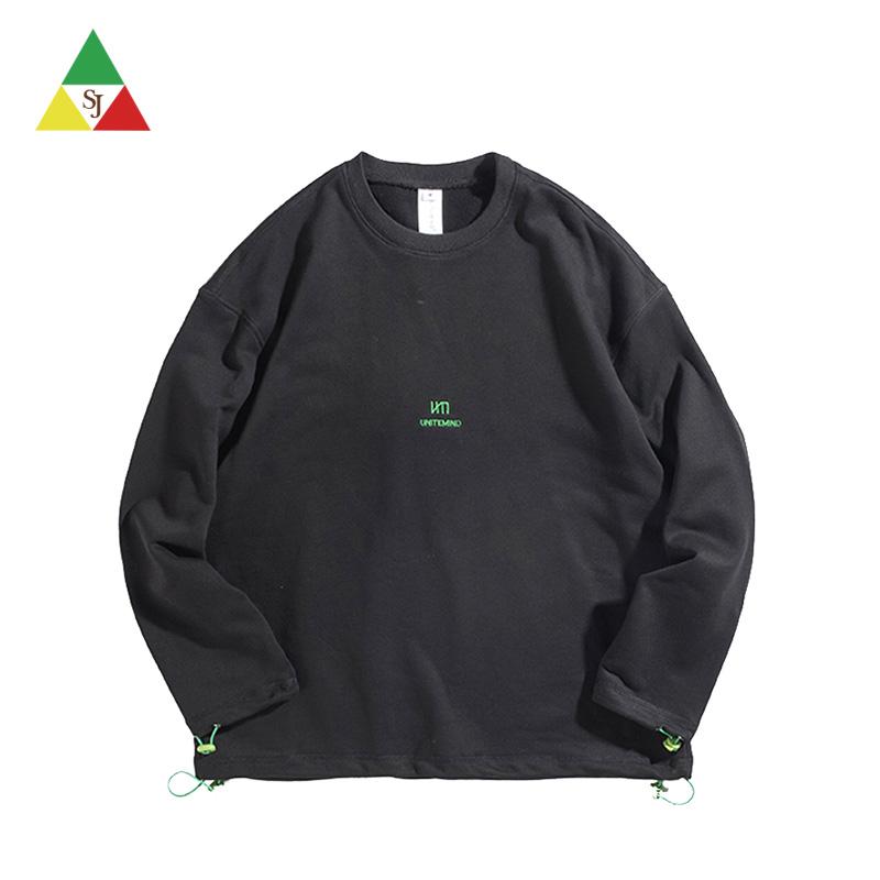 Wholesale black men embroidery custom sweatshirt
