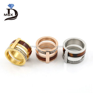 2017 New collections Luxury 3 layer tiger eye/ amber colors stainless wide band women men rings