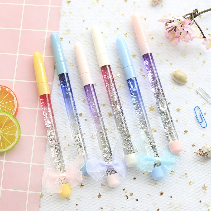 Office & School Supplies Ballpoint Pens Efficient 0.5mm 4 Color Cute Magic Fairy Ballpoint Pen Colorful Sand Pen Office School Supplies Pens Pencils Writing Supplies