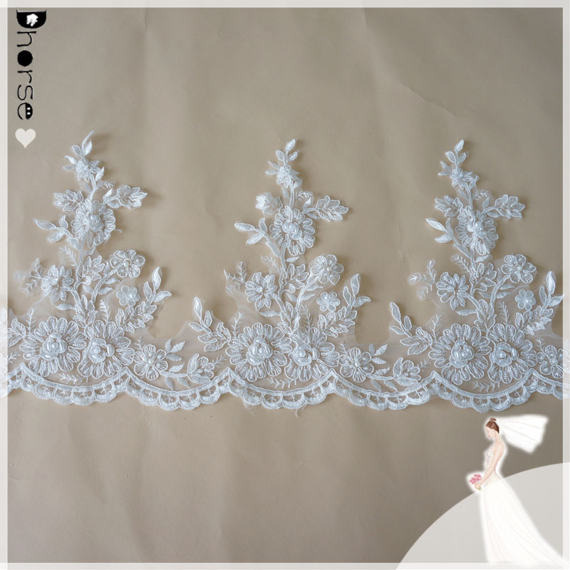 Wholesale 100% polyester embroidery beaded corded bridal lace trim diy sewing