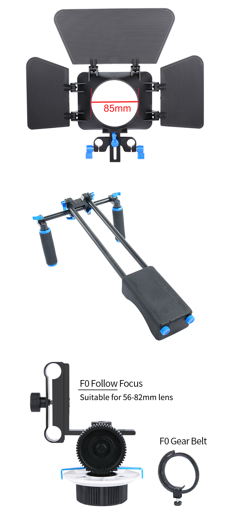 YELANGU Sturdy DSLR Camera Cage Stabilizing Shoulder Rig Kit With Matte Box and Follow Focus