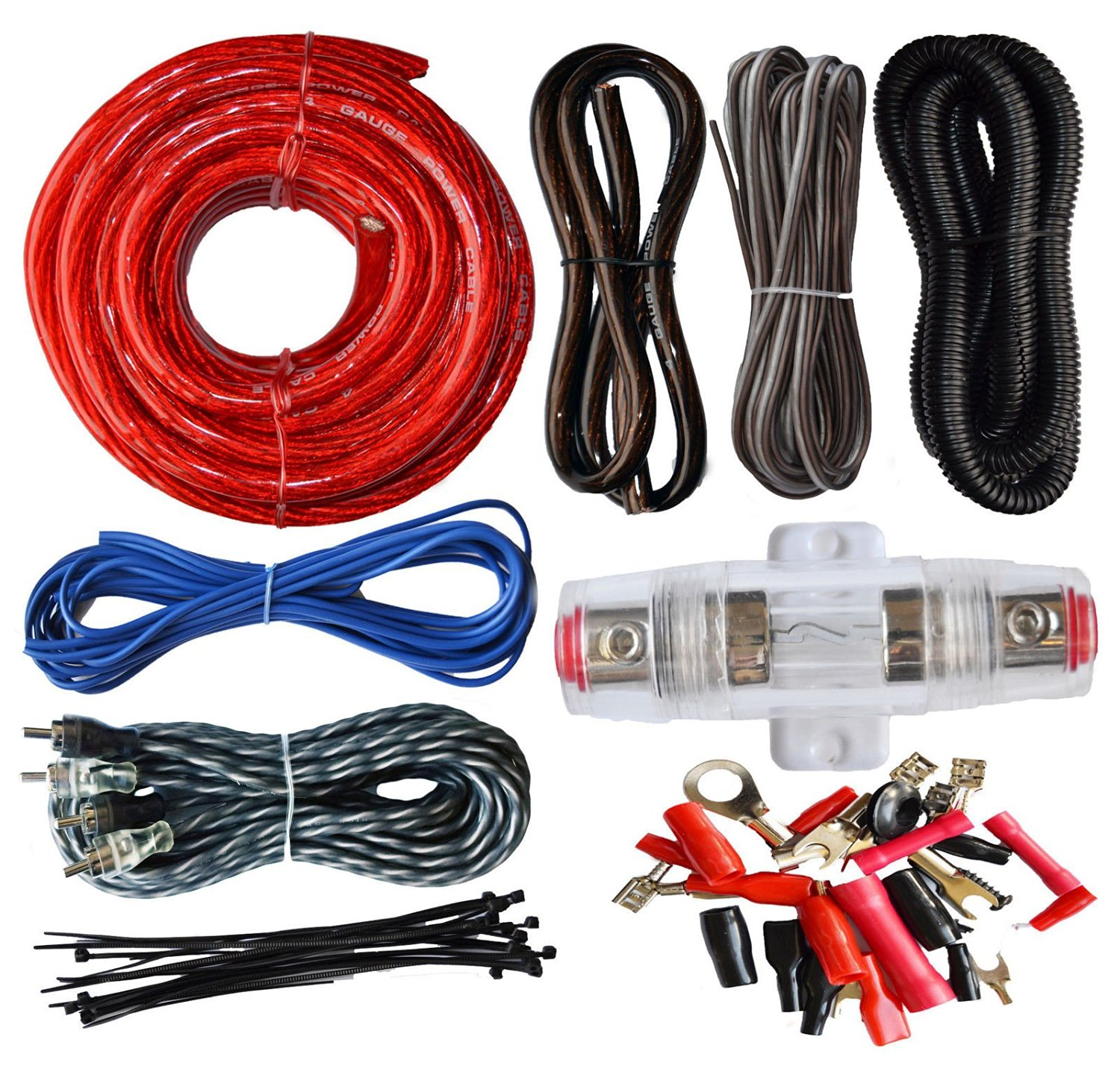 Buy 10 Gauge Awg Wire Amp Kit Car Audio Amplifier Installation Images Of Lifier On Speakers Wiring 4 Power Cable 16ft Ground