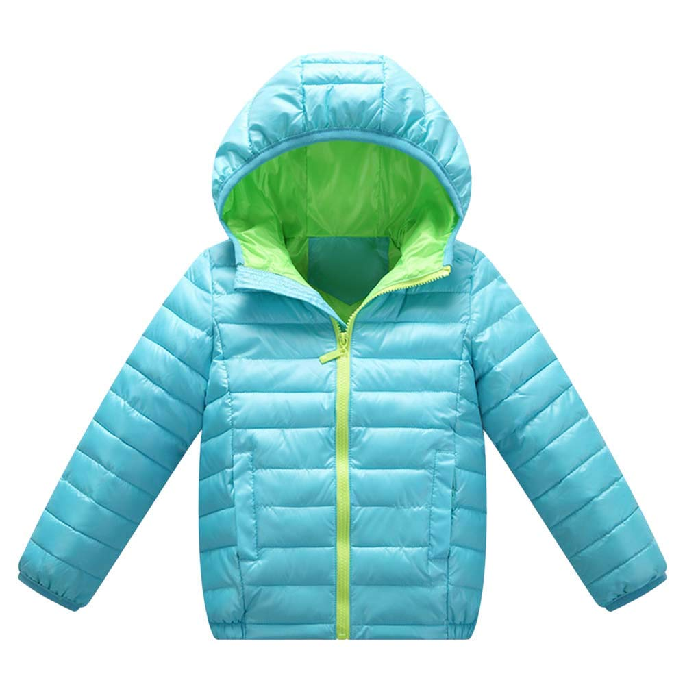 Little Kids Winter Warm Coat,Jchen(TM) Fashion Children Kids Boys Girls Long Sleeved Hooded Keep Warm Wadded Jacket Clothes for 3-7 Y (Age: 4-5 Years Old, Light Blue)