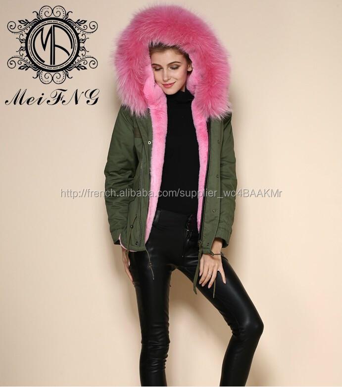 pur coton faux de fourrure rose de dames manteau avec capuchon de fourrure des femmes veste. Black Bedroom Furniture Sets. Home Design Ideas