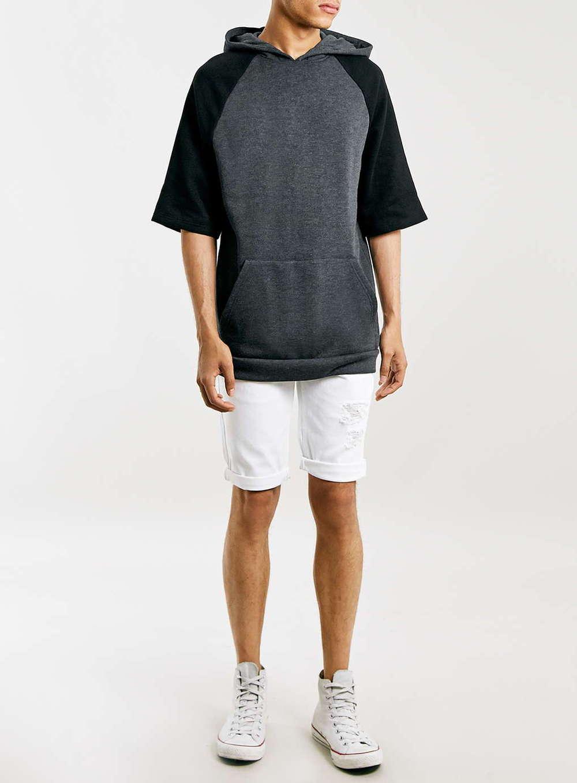 High Quality Custom Black Raglan Short Sleeve Hoodie /cheap Cotton ...