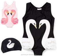 2017 Baby Girl Swimwear Flamingos Printed Kids One Piece Children Summer Swimming Sunsuits with Hat