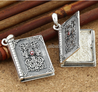 Wholesale open photo album charm pendant 925 sterling silver photo album charms for originality gift