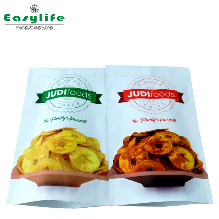 Plantain Chips Packaging Bags Stand Up Pouch With Zipper/Plastic Zipper Aluminum Foil Plastic Bag