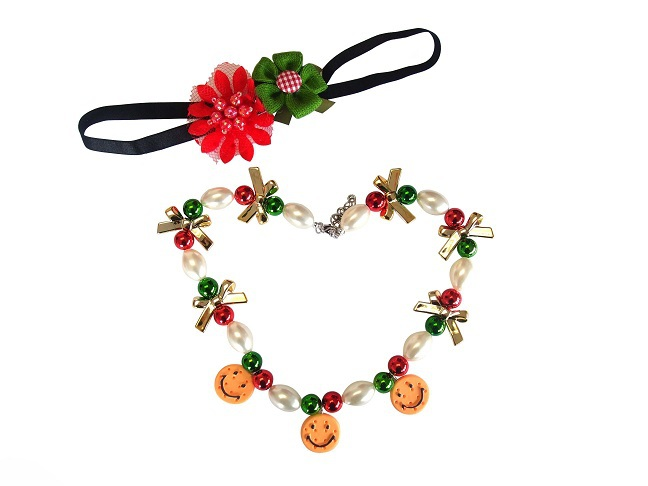Christmas Flower Head Band Necklace Handmade Childrens Jewellery Sets