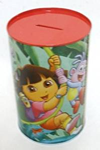 "DORA The Explorer Money Box Cash Can Bank Made Tin 15cm / 5.9"" NEW"