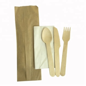 Individual Kraft Paper Wrapping Knife Spoon Fork Cutlery Set China With Napkin