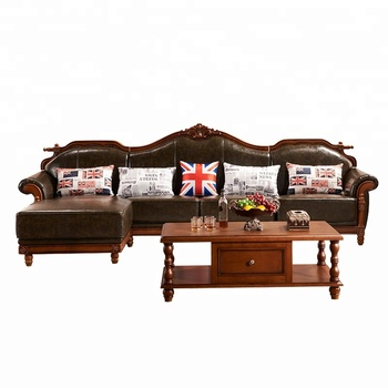 Luxury American Style Living Room Furniture Antique Carved Wooden And Leather Sofa Set