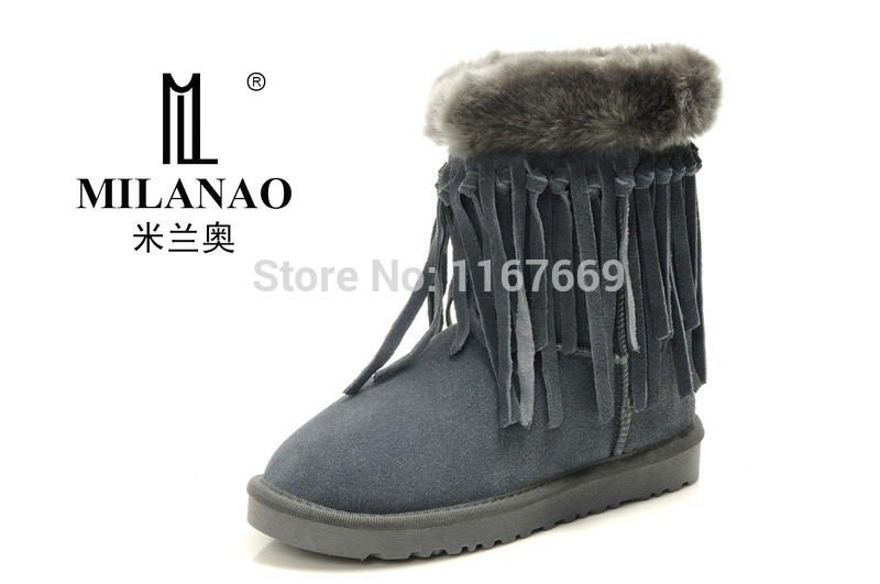 Ankle Boots Hot Sale Real Rubber Bota Feminina 2015 Fashion Brand Milanao 5835 Winter Snow Women Boots With Tassel Size Eu35-40