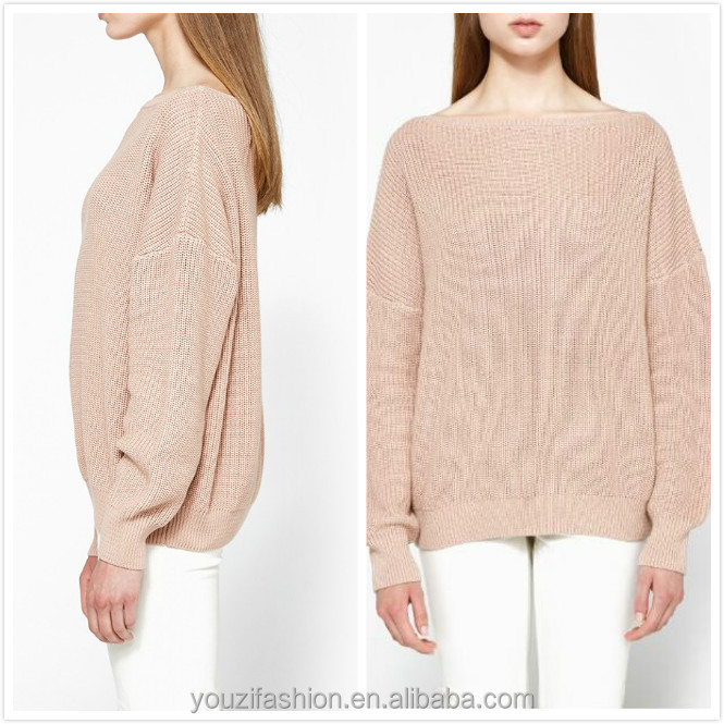 knitted women clothing dropped shoulders long sleeves blush knit sweater