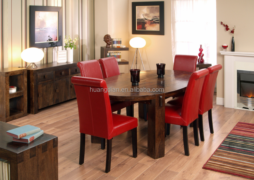 Dark Wood Dining Table Set Brown Color Wooden Floor DT4001