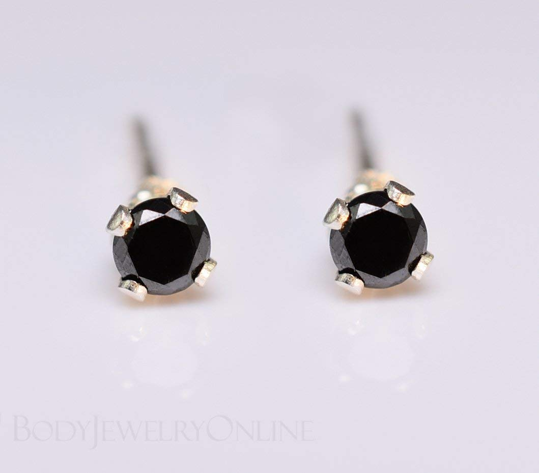 60c819d52 Get Quotations · Genuine BLACK DIAMOND Earring Studs 2mm 0.08tcw Post 14k  Solid Gold (Yellow, Rose