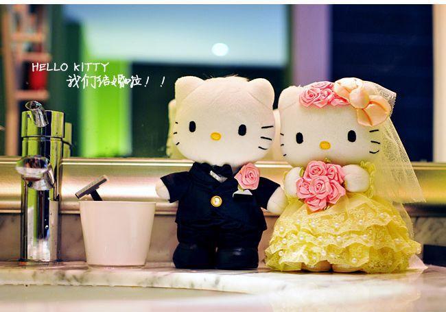 Hello Kitty Wedding Gift: Free Shipping By EMS Wedding Couple Hello Kitty Stuffed