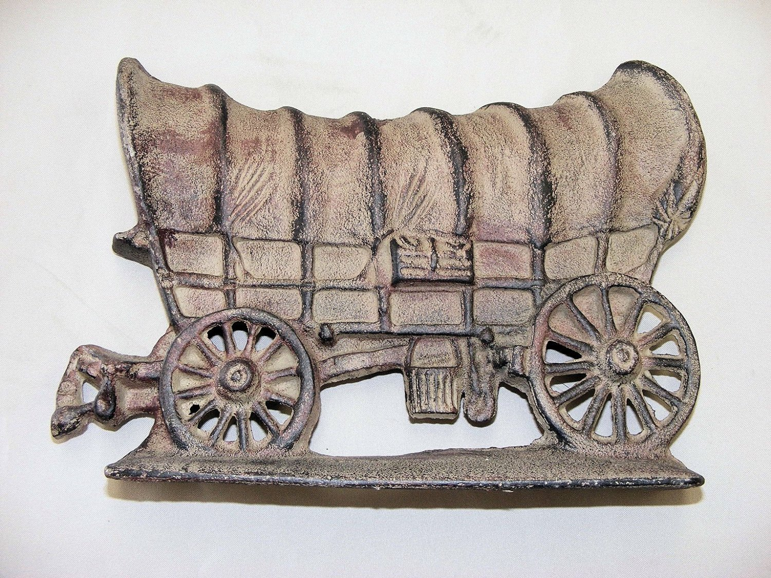 """ABC Products"" - Heavy-Heavy Cast Iron - Large Door Stop Wedge - 12 Long"" x 8-1/2"" Tall - Primitive Cover Wagon Design - (Light Rustic Finish)"