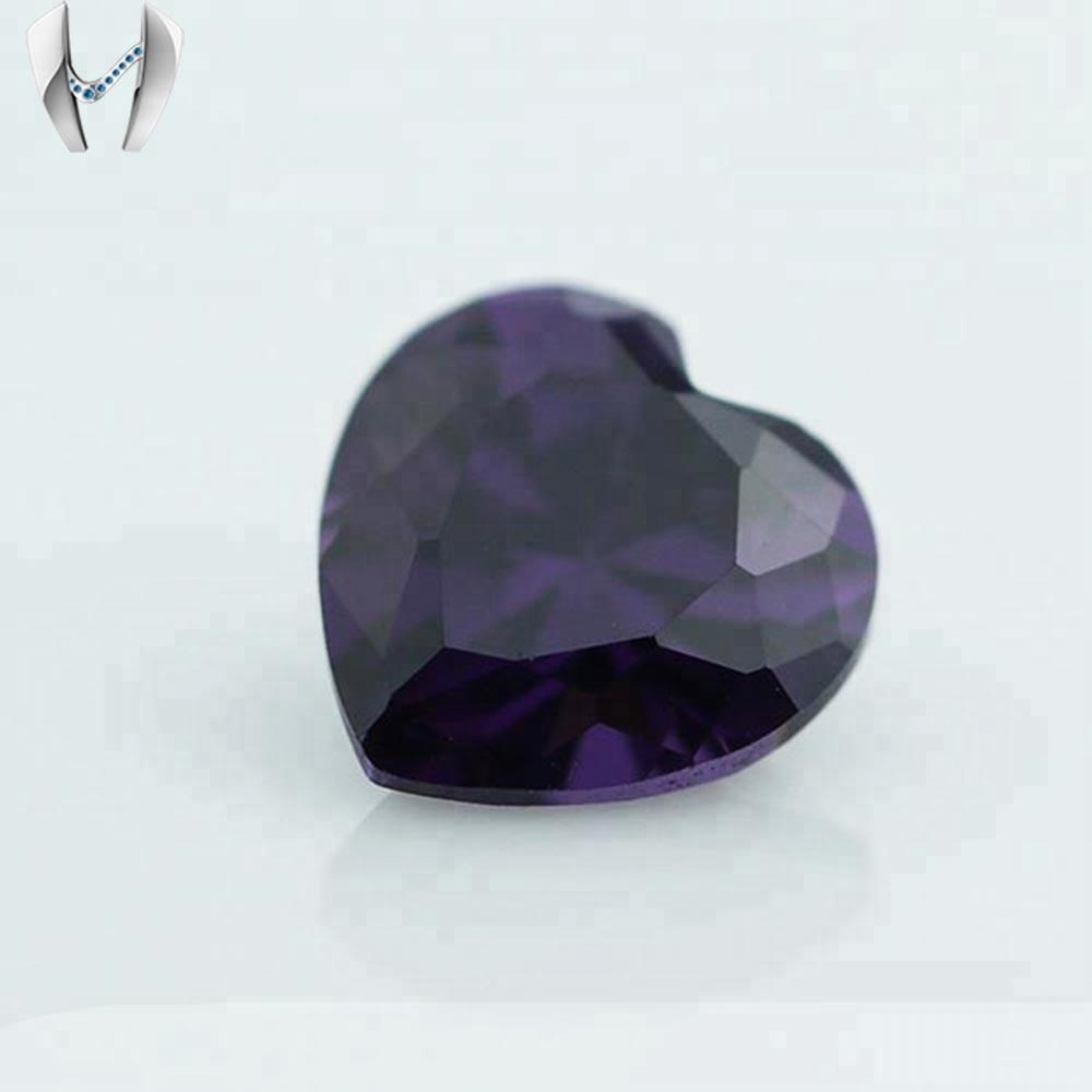 Small Size Prices Loose Gemstone Zircon Amethyst Heart Shape CZ