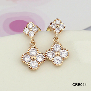 Small Lot 24Pairs Bulk Top Grade AAA CZ Setting Golden Earring Designs for Women