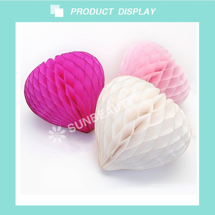 2017 Sunbeauty Wholesale Tissue Paper Honeycomb Heart for Valentines Day Wedding Hanging Decorations
