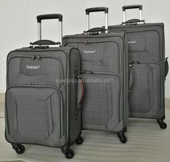 Fashionable 3 Piece Brown Cloth 4 Wheels Spinner Trolley Luggage