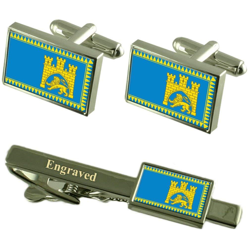 Lviv City Ukraine Flag Cufflinks Engraved Tie Clip Set