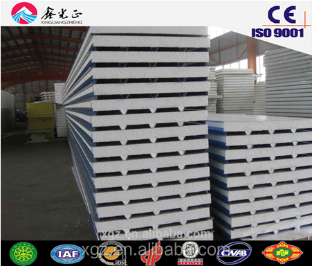 0.35mm-0.6mm PPGI both side 50/75/100mm EPS sandwich used for steel structure roof and wall made by XGZ