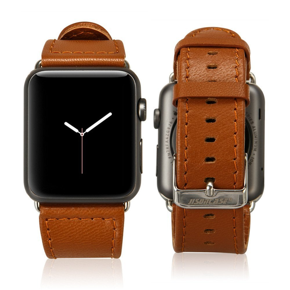 Jisoncase 42MM Apple Watch Band Genuine Lambskin Leather iWatch Replacement Watchbands with Classic Buckle for Apple Watch Sport Edition, Brown (For 42MM Version) TC-AW4-18L20