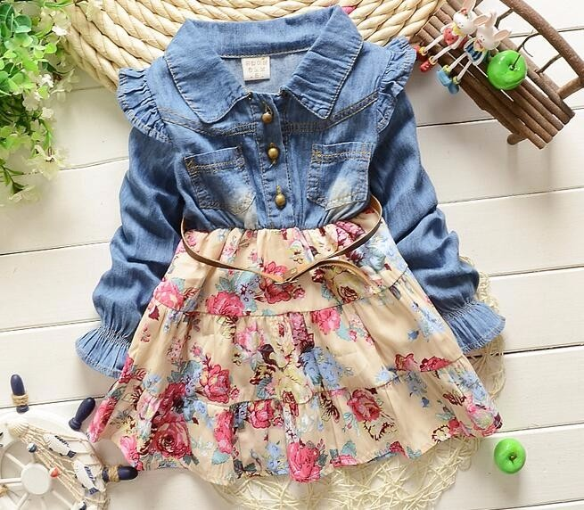 bfb2b2865 2019 Wholesale Autumn Baby Girl Dress Floral Christening Long Sleeve ...