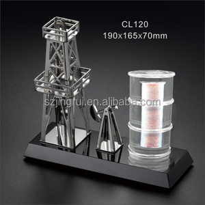 Crystal base oil related sand metal gift souvenir item for oil industry