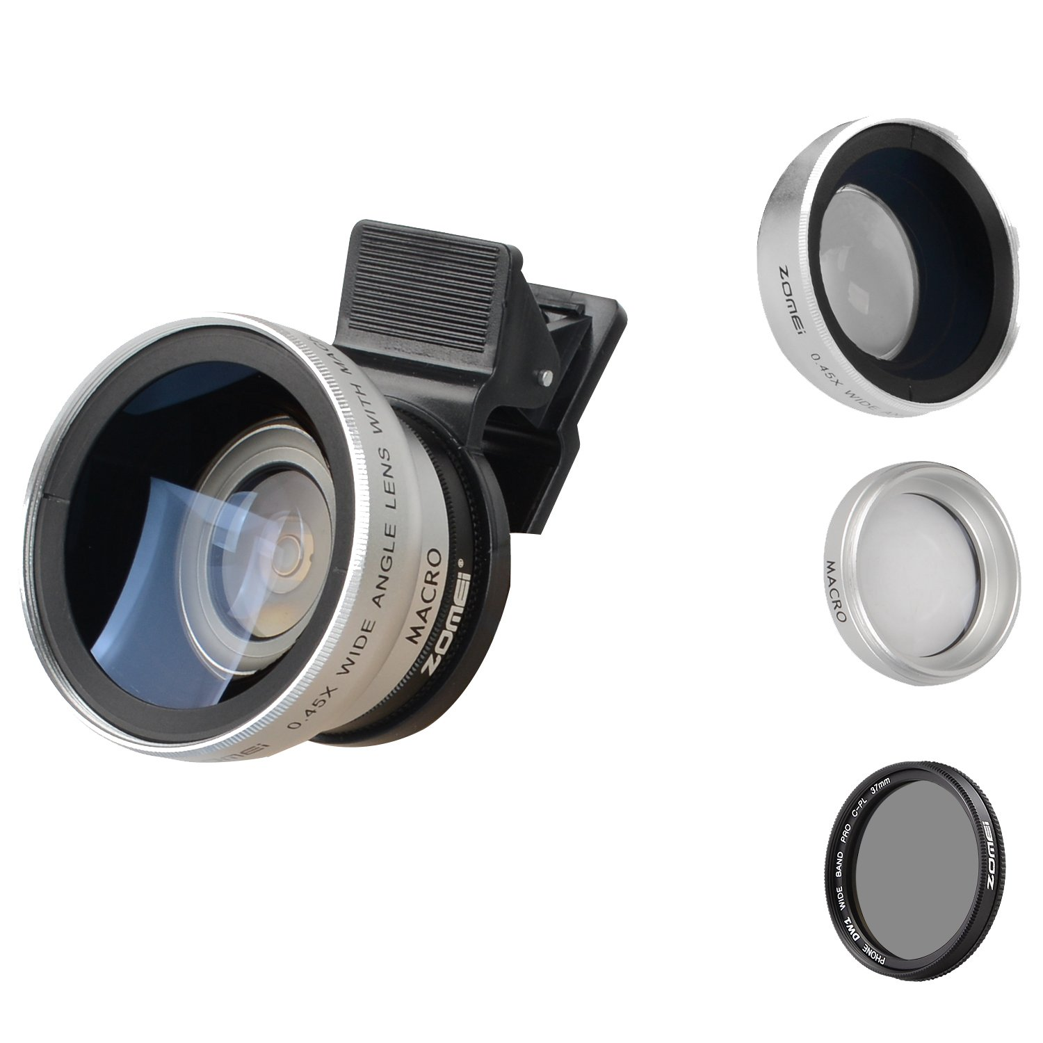 Zomei iPhone Lens 3 in 1 Cell Phone Camera Lens Kit 140 Degree Wide Angle Lens + 10X Macro Lens + CPL Polarizing Filter with 37mm Clip for iPhone Samsung Android Smartphones(Silver)