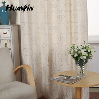 geometric pattern chain embroidery window curtain design for living room