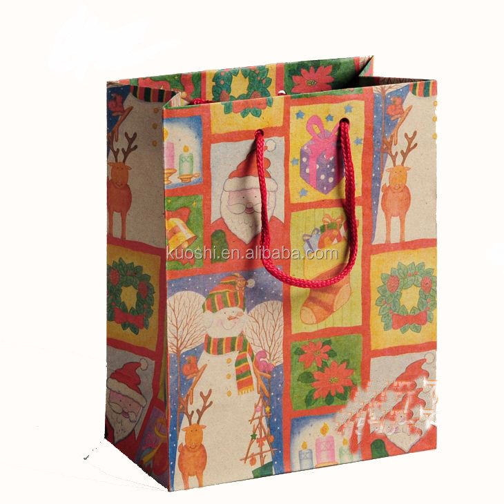 recycled color christmas newspaper paper bag 3d