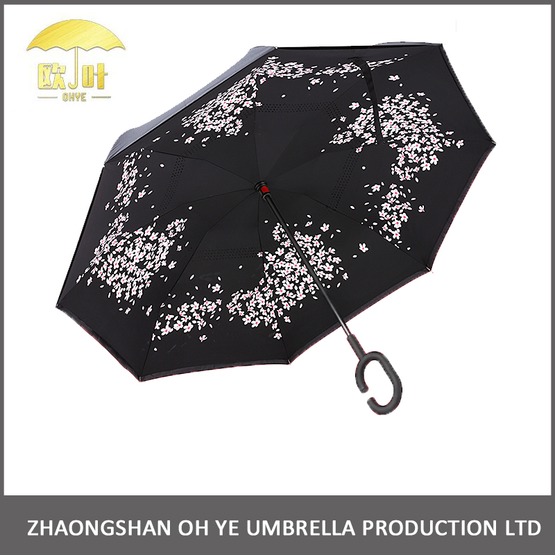 Windproof self standing car rain inverted reverse c handle umbrella