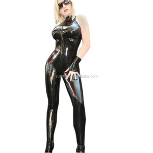 Plus XXXL Size Women Man Black Wetlook PVC Catsuit Cross Zipper Unisex Jumpsuit