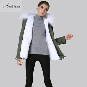 Wholesale Factory White Winter Fur Parka For Ladies Winter France Flag Beads MRS Coat