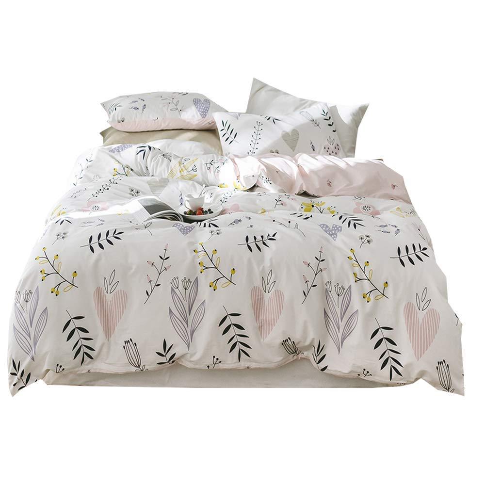 48927d22cc VClife Girl Full/Queen Duvet Cover Soft Plush White Pink Botanical Flower  Printed Bedding Sets