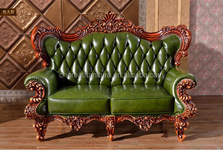 Antique Royal Oak Wood Carving Villa Big Antique Green Leather Sofa - Buy  Antique Royal Oak Wood Carving Villa Big Antique Green Leather Sofa,Heated  ...