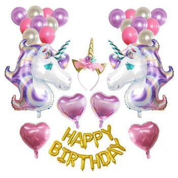 Purple Unicorn Birthday Party Supplies Happy Decoration Set With Cake Five