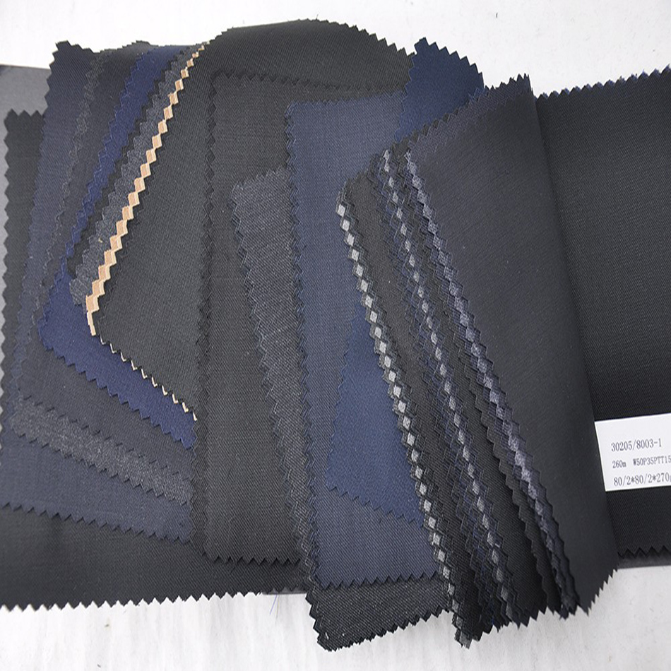 Close out wool polyester blended suit fabric
