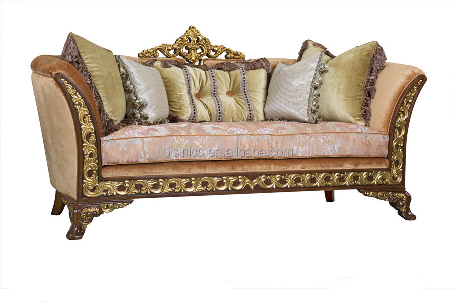 Royal British Style Palace Furniture, Empire Style Antique Living Room Set,  Wood Carved Golden