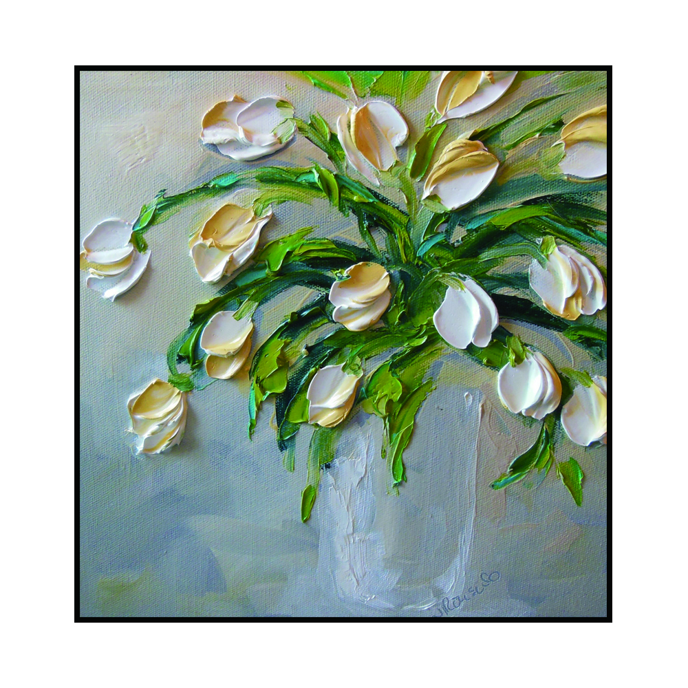 Handpainted Modern Abstract Rose Acrylic Paintings Flowers For Home Decoration Buy White Flower Oil Paintings Canvas Flower Oil Painting Bright