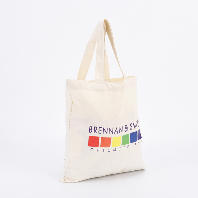Plain reusable eco-friendly cotton tote shopping bag with custom logo